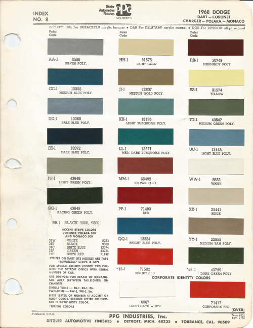 NOTE Not All Of The Colors Listed Above Are For 1968 Dodge Charger Some Belong To Other Ford Vehicles